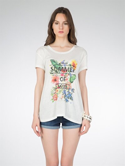 COLINS бежевый женский футболки короткий рукав<br>Пол: женский; Цвет: бежевый; Размер INT: L;