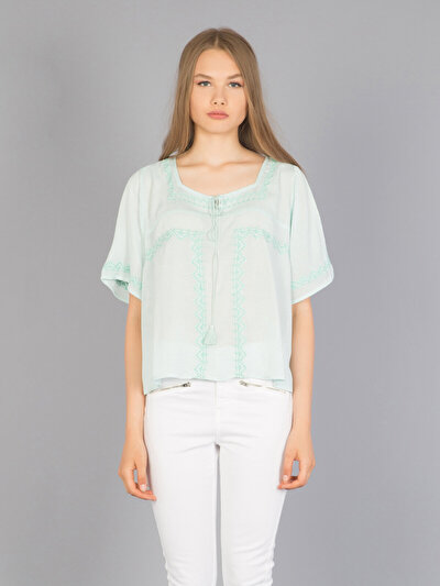 COLINS зеленый женский рубашки длинний рукав<br>Пол: женский; Цвет: зеленая мята; Размер INT: XS;