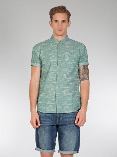 COLINS зеленый мужской рубашки короткий рукав<br>Пол: мужской; Цвет: зеленый; Размер INT: L;