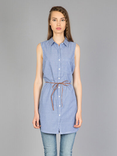 COLINS синий женский рубашки короткий рукав<br>Пол: женский; Цвет: синий; Размер INT: XL;