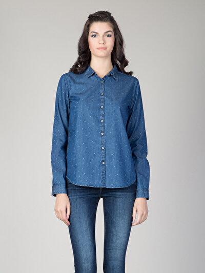COLINS синий женский рубашки длинний рукав<br>Пол: женский; Цвет: синий; Размер INT: XS;