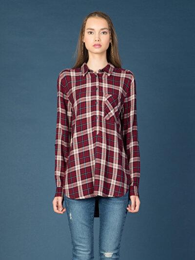 COLINS бордовый женский рубашки длинний рукав<br>Пол: женский; Цвет: бордовый; Размер INT: XS;