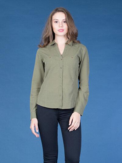 COLINS хаки женский рубашки длинний рукав<br>Пол: женский; Цвет: хаки; Размер INT: M;
