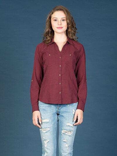 COLINS пурпурный женский рубашки длинний рукав<br>Пол: женский; Цвет: сливовый; Размер INT: M;