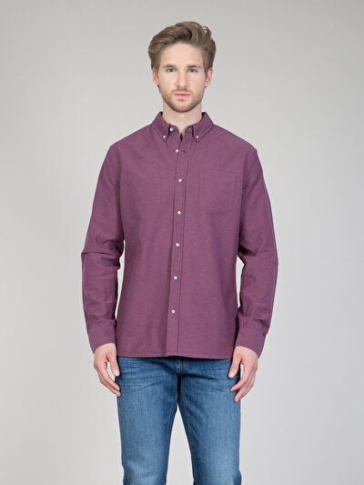 COLINS бордовый мужской рубашки длинний рукав<br>Пол: мужской; Цвет: бордовый; Размер INT: M;