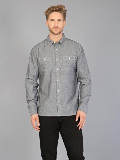COLINS серый мужской рубашки длинний рукав<br>Пол: мужской; Цвет: серый; Размер INT: M;