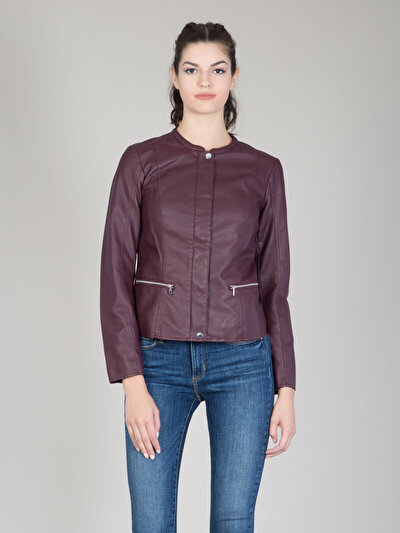 COLINS пурпурный женский куртки-pu<br>Пол: женский; Цвет: сливовый; Размер INT: XL;