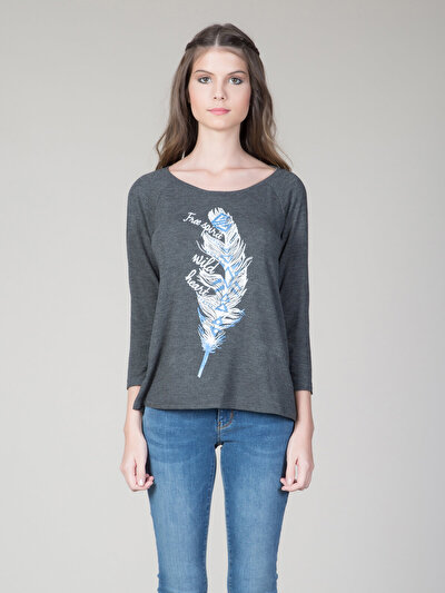COLINS антрацит женский футболки длинный рукав<br>Пол: женский; Цвет: смешанный антрацит; Размер INT: S;