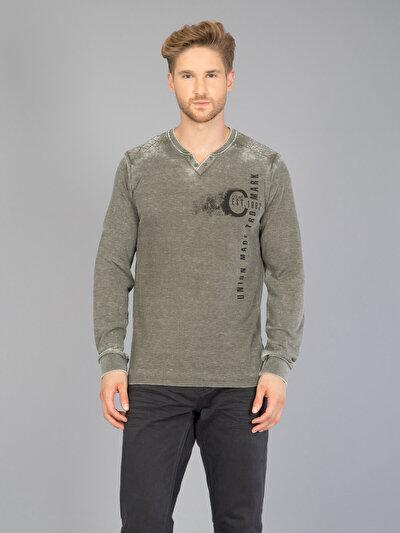 COLINS хаки мужской футболки длинный рукав<br>Пол: мужской; Цвет: хаки; Размер INT: L;