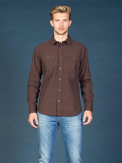 COLINS пурпурный мужской рубашки длинний рукав<br>Пол: мужской; Цвет: сливовый; Размер INT: XL;