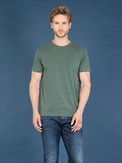 COLINS зеленый мужской футболки короткий рукав<br>Пол: мужской; Цвет: смешанный зеленый; Размер INT: S;