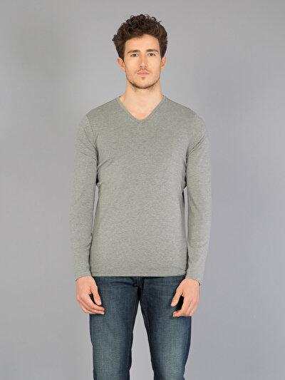 COLINS серый мужской футболки длинный рукав<br>Пол: мужской; Цвет: смешанный серый; Размер INT: M;