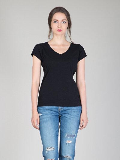 COLINS черный женский футболки короткий рукав<br>Пол: женский; Цвет: черный; Размер INT: XL;