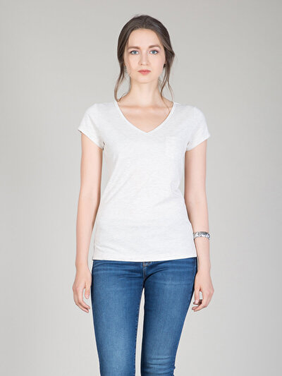 COLINS бежевый женский футболки короткий рукав<br>Пол: женский; Цвет: экру меланж; Размер INT: XL;