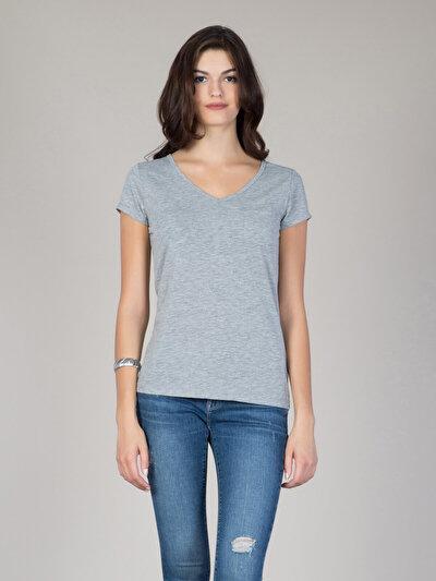 COLINS серый женский футболки короткий рукав<br>Пол: женский; Цвет: смешанный серый; Размер INT: XS;