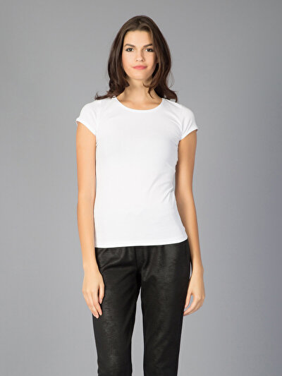 COLINS белый женский футболки короткий рукав<br>Пол: женский; Цвет: белый; Размер INT: M;