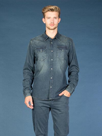 COLINS  мужской рубашки длинний рукав<br>Пол: мужской; Цвет: марти мытый; Размер INT: L;