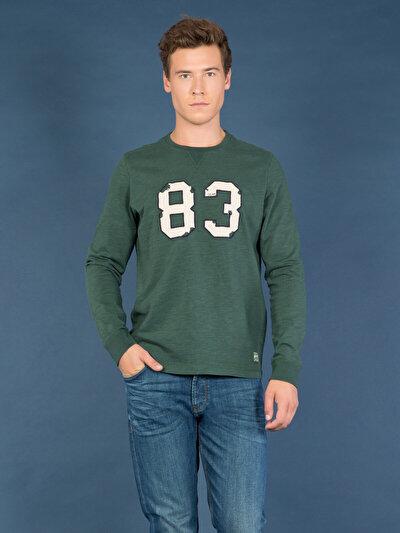 COLINS зеленый мужской футболки длинный рукав<br>Пол: мужской; Цвет: смешанный зеленый; Размер INT: L;
