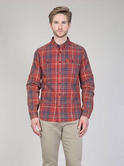 COLINS кораловый мужской рубашки длинний рукав<br>Пол: мужской; Цвет: кораловый; Размер INT: XL;
