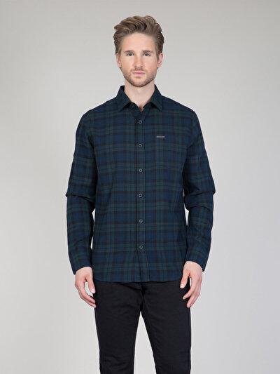 COLINS зеленый мужской рубашки длинний рукав<br>Пол: мужской; Цвет: темный зеленый; Размер INT: S;