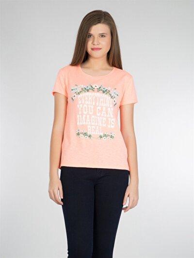 COLINS кораловый женский футболки короткий рукав<br>Пол: женский; Цвет: коралл меланж; Размер INT: L;