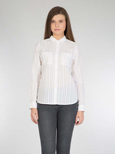 COLINS белый женский рубашки длинний рукав<br>Пол: женский; Цвет: белый; Размер INT: L;