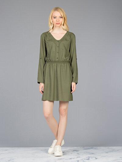 COLINS хаки женский платья<br>Пол: женский; Цвет: хаки; Размер INT: L;