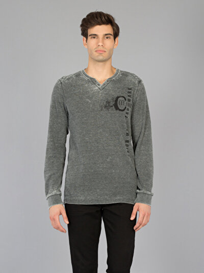 COLINS антрацит мужской футболки длинный рукав<br>Пол: мужской; Цвет: смешанный антрацит; Размер INT: XL;