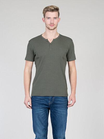 COLINS хаки мужской футболки короткий рукав<br>Пол: мужской; Цвет: хаки; Размер INT: S;