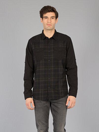 COLINS черный мужской рубашки длинний рукав<br>Пол: мужской; Цвет: черный; Размер INT: L;