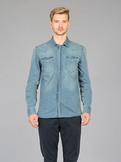 COLINS  мужской рубашки длинний рукав<br>Пол: мужской; Цвет: сэйнтс уош; Размер INT: M;