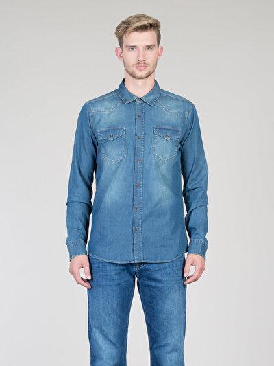 COLINS  мужской рубашки длинний рукав<br>Пол: мужской; Цвет: круз уош; Размер INT: S;