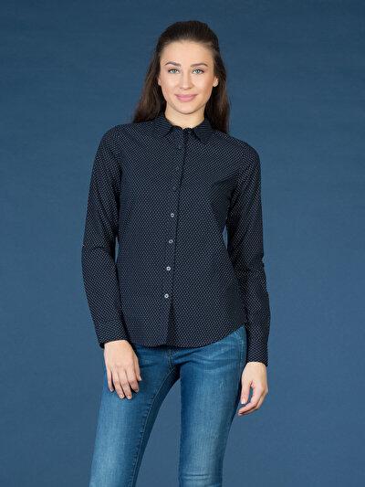 COLINS синий женский рубашки длинний рукав<br>Пол: женский; Цвет: синий; Размер INT: M;