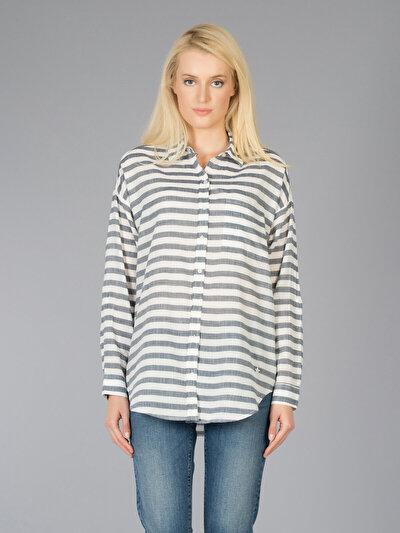 COLINS  женский рубашки длинний рукав<br>Пол: женский; Цвет: ночной синий; Размер INT: XS;