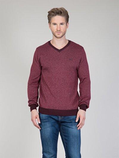 COLINS бордовый мужской свитеры<br>Пол: мужской; Цвет: бордовый меланж; Размер INT: S;