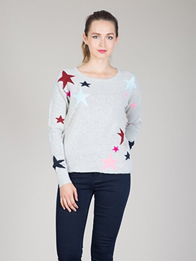 COLINS серый женский свитеры<br>Пол: женский; Цвет: светло серый меланг; Размер INT: M;