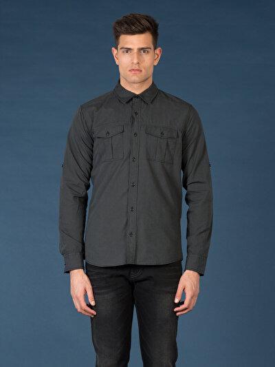COLINS антрацит мужской рубашки длинний рукав<br>Пол: мужской; Цвет: смешанный антрацит; Размер INT: S;