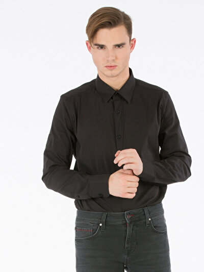 COLINS черный мужской рубашки длинний рукав<br>Пол: мужской; Цвет: черный; Размер INT: S;
