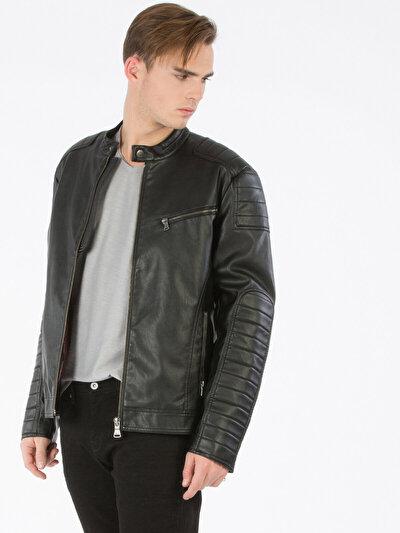 COLINS черный мужской куртки-pu<br>Пол: мужской; Цвет: черный; Размер INT: S;