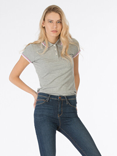 COLINS серый женский футболки короткий рукав<br>Пол: женский; Цвет: смешанный серый; Размер INT: XL;