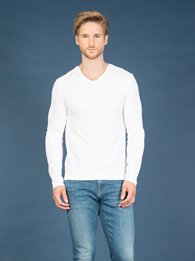 COLINS белый мужской футболки длинный рукав<br>Пол: мужской; Цвет: белый; Размер INT: M;