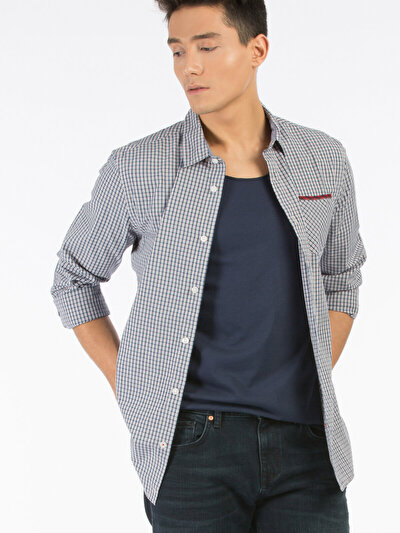 COLINS синий мужской рубашки длинний рукав<br>Пол: мужской; Цвет: синий; Размер INT: M;