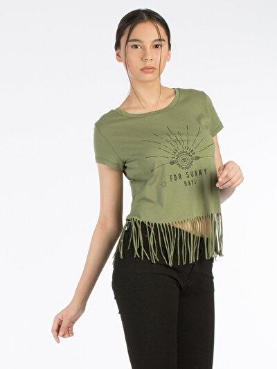 COLINS хаки женский футболки короткий рукав<br>Пол: женский; Цвет: хаки; Размер INT: S;