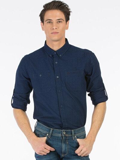 COLINS  мужской рубашки длинний рукав<br>Пол: мужской; Цвет: темного индиго; Размер INT: XL;