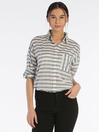COLINS  женский рубашки длинний рукав<br>Пол: женский; Цвет: ночной синий; Размер INT: L;