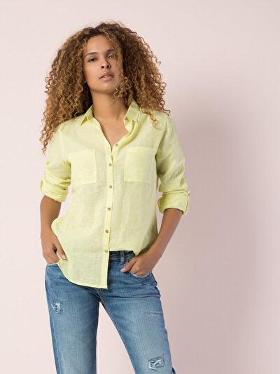 COLINS желтый женский рубашки длинний рукав<br>Пол: женский; Цвет: желтый; Размер INT: M;