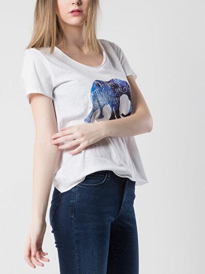 COLINS белый женский футболки короткий рукав<br>Пол: женский; Цвет: белый; Размер INT: S;