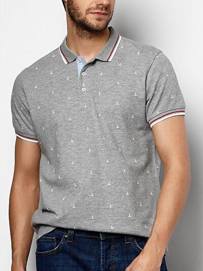 COLINS серый мужской футболки-поло к. рукав<br>Пол: мужской; Цвет: смешанный серый; Размер INT: M;
