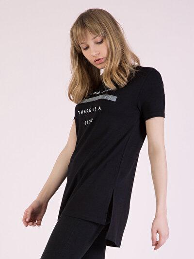 COLINS черный женский футболки короткий рукав<br>Пол: женский; Цвет: черный; Размер INT: L;