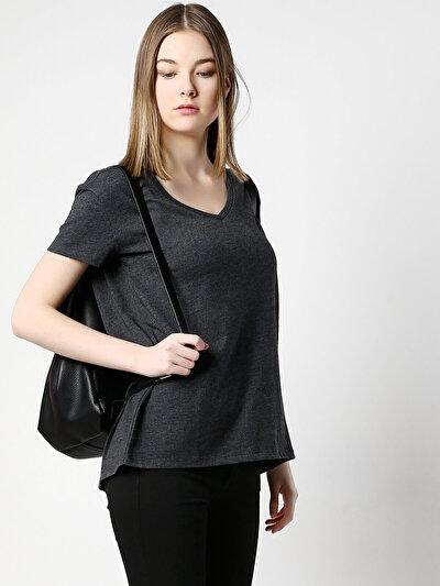 COLINS антрацит женский футболки короткий рукав<br>Пол: женский; Цвет: смешанный антрацит; Размер INT: XS;